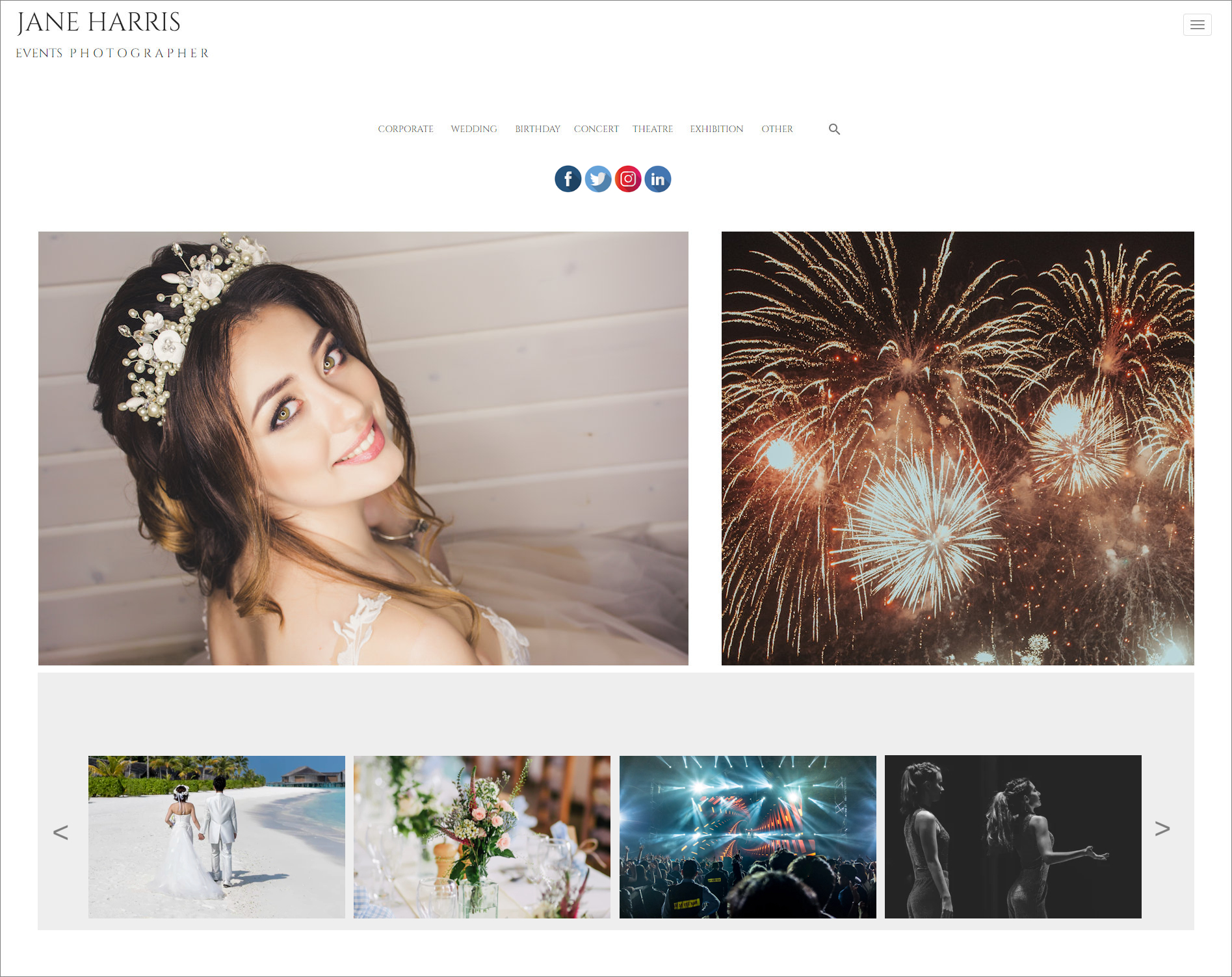 Web Design Example layout template for a photographer