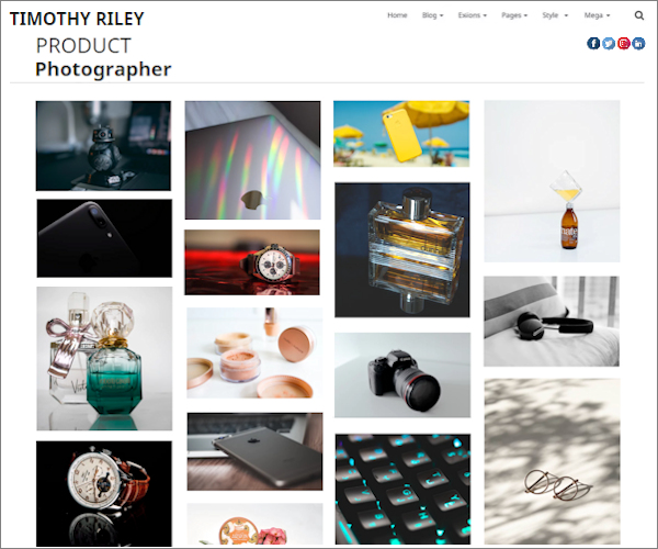 Web design for a fashion photographer portfolio