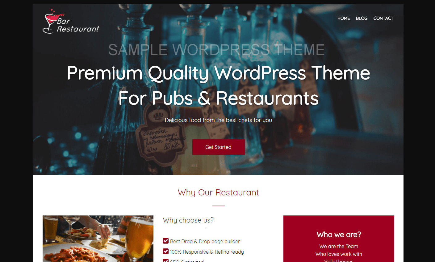 Theme sample with a restaurant.